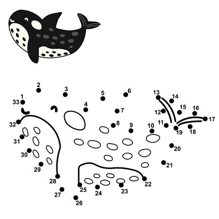 Connect the dot to draw a cute orca. Numbers educational game for kids