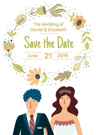 Save the date card with a happy bride and groom Archivio Fotografico - 138294708