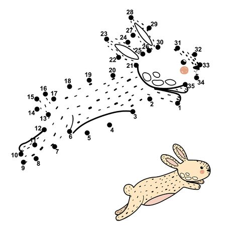 Dot to dot game with cute jumping rabbit