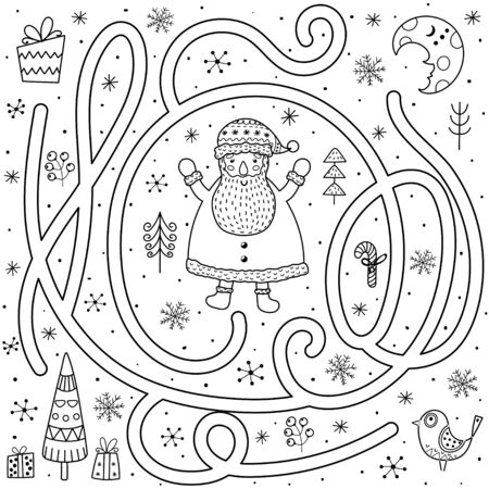 Black and white maze game for kids. Help the Santa Claus find the way to the Christmas tree 向量圖像