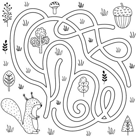 Black and white labyrinth game for kids. Help the squirrel find the way to the nut Ilustrace