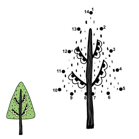 Connect the dots and draw a tree. Numbers game for kids 일러스트