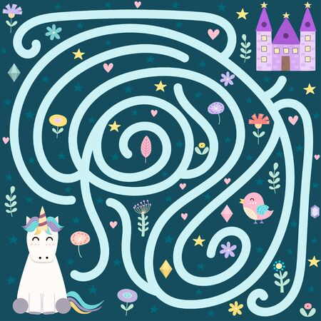 Help the cute unicorn find the way to the magic castle