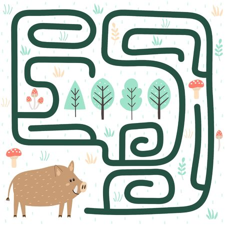 Help the boar find the way to the forest. Labyrinth for kids