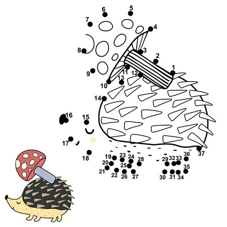 Connect the dots and draw a cute hedgehog carrying a mushroom on its back
