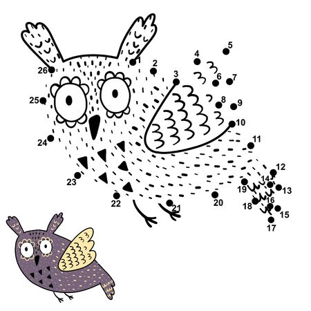 Dot to dot game for kids with cute flying owl.