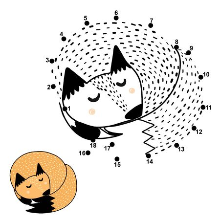 Connect the dots and draw a cute sleeping fox 일러스트