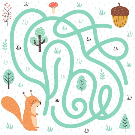 Help the squirrel find the way to the nut. Forest labyrinth for kids