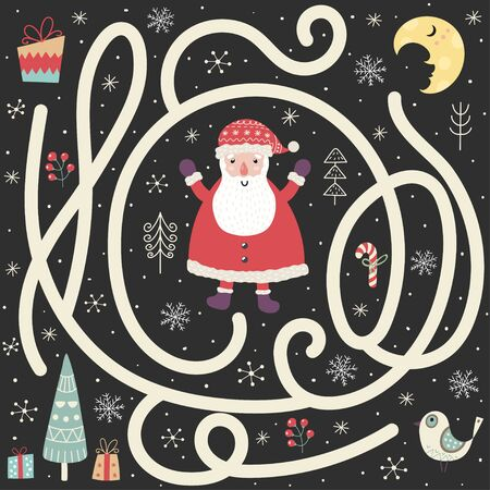 Help the Santa Claus find the way to the Christmas tree Ilustrace