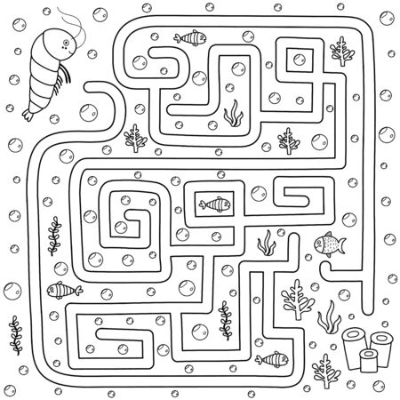 Help the shrimp find the path to her home. Black and white labyrinth for kids  イラスト・ベクター素材