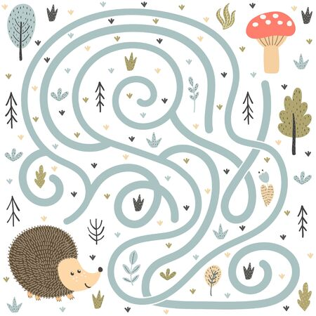 Help the cute hedgehog find the way to the mushroom Ilustrace