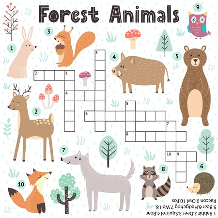 Crossword game for kids with cute forest animals