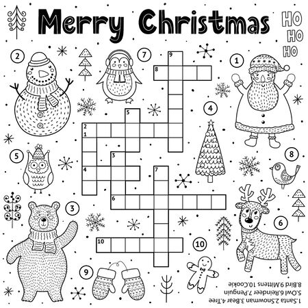 Merry Christmas crossword game for kids. Black and white educational activity page for coloring Ilustração