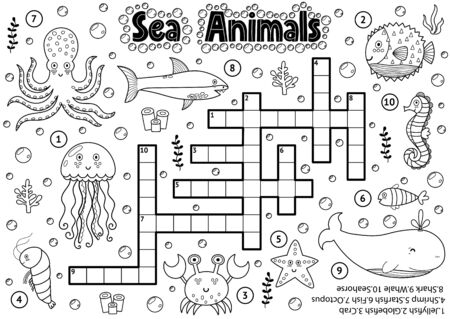 Black and white crossword with sea animals for coloring