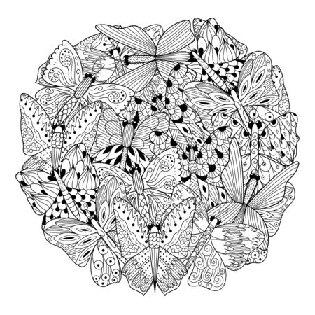 Butterflies circle shape coloring page. Black and white print. Vector illustration Banque d'images - 138350645
