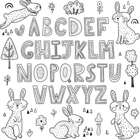 Black and white alphabet with cute rabbits. Coloring page for children. Vector illustration Vector Illustration