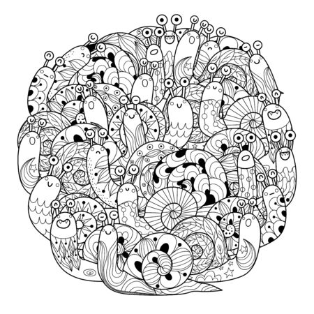 Funny snails circle shape coloring page for adults and kids  イラスト・ベクター素材