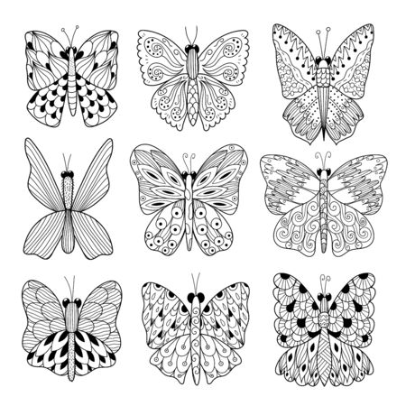 Black and white butterflies collection. Coloring page Stock Illustratie