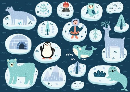 North Pole characters set. Arctic animals cute collection