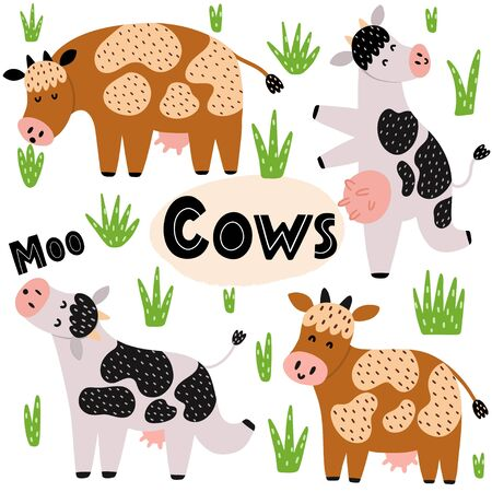 Cute cows set. Clipart collection with funny farm animals Illustration