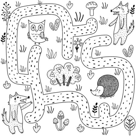 Black and white maze game for kids. Help the baby wolf find the way to his mother. Forest labyrinth and coloring page for children. Vector illustration