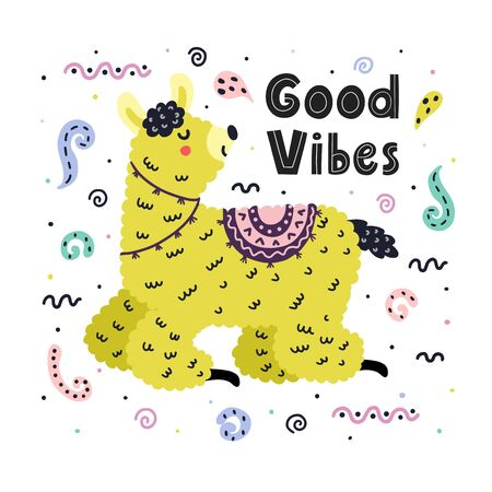 Good vibes card with a cute llama. Creative background for posters, prints, postcards and more. Funny alpaca and hand drawn lettering in Scandinavian style for kids. Vector illustration