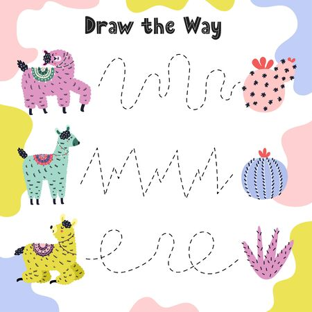 Draw the line from llama to cacti. Funny tracing practice