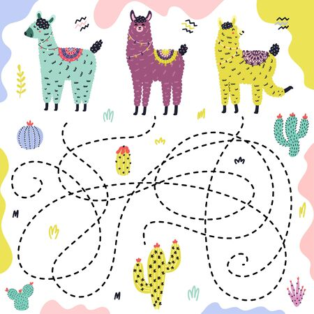 Guess which llama gets to the cactus. Maze game with funny alpacas for kids