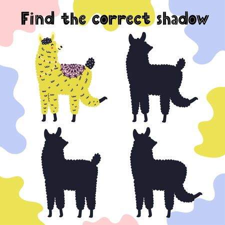 Find the correct shadow activity for kids with cute llama Иллюстрация