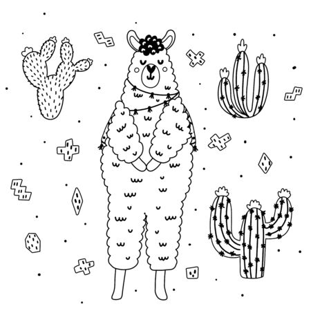 Coloring page with cute llama and cactuses