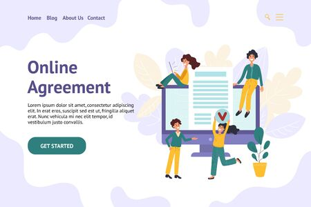 Digital contract banner for website with trendy people