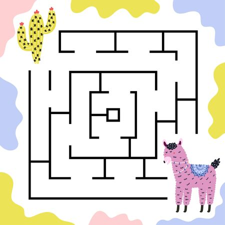 Help llama to get to the cactus. Maze game for kids