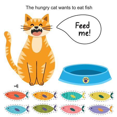 Feed the cat activity page for kids