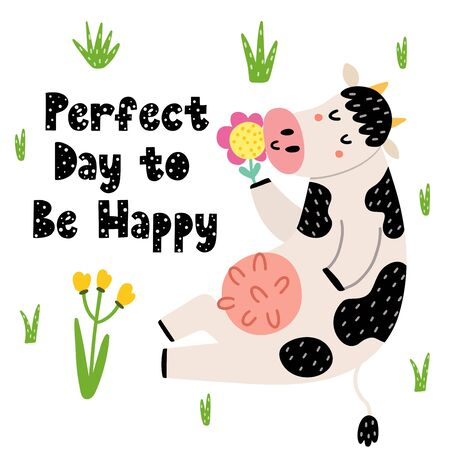 Perfect day to be happy card with a funny cow