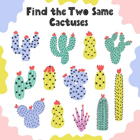 Find two same cactuses logical game for kids