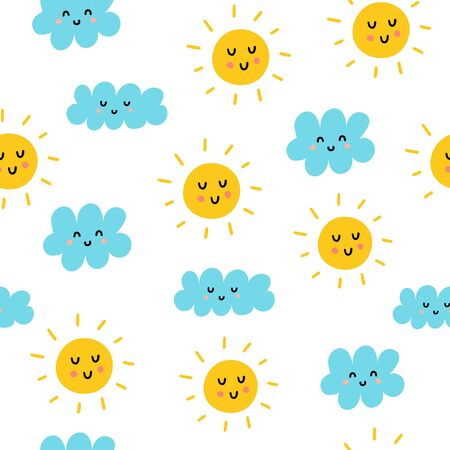 Cute sun and clouds seamless pattern