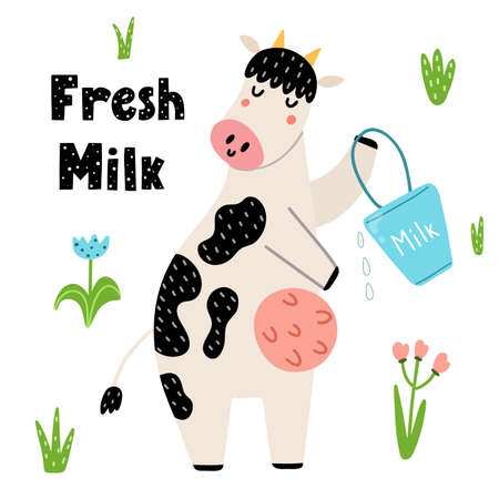 Fresh milk funny print with a cute cow with a bucket. Cute card in childish style with a farm character. Vector illustration Ilustração
