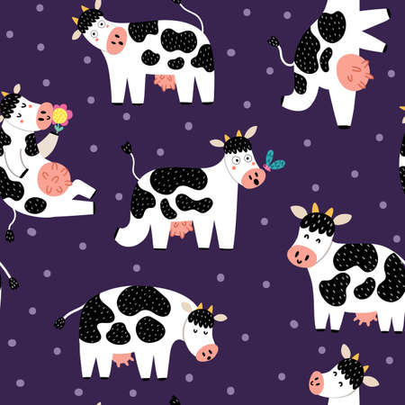 Funny cows seamless pattern. Funny farm characters background. Doodle animals for kids. Vector illustration