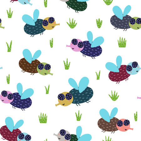 Cute fly seamless pattern. Nature background with funny insect character. Print in childish style. Vector illustration Ilustração