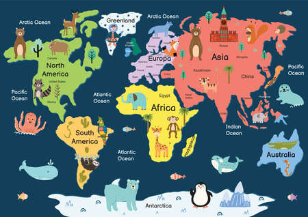 Map of the world with cute animals. Colorful cartoon map with giraffe, lion, monkey, elephant, tiger, bear, fox. Great for poster or banner A4 format. Vector illustration