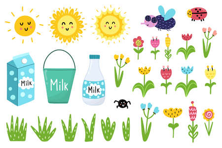 Clipart set with funny elements - sun, fly, ladybug, flowers, milk. Isolated elements collection. Vector illustration