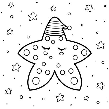Coloring page with a cute sleeping star. Good night coloring book template. Black and white background. Vector illustration Ilustração
