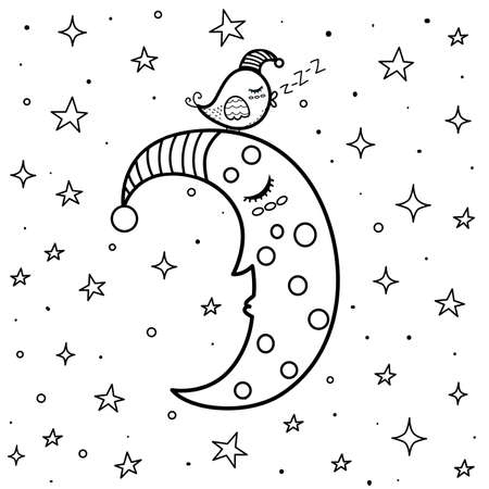 Coloring page with cute sleeping moon and a bird. Black and white background for coloring books. Sweet dreams for kids. Vector illustration