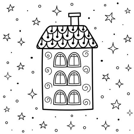Magic coloring page with ornamental house in zentangle style. Sweet dreams colouring book. Black and white fantasy background. Vector illustration Ilustração