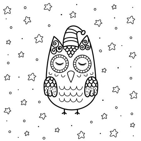 Cute sleeping owl in zentangle style coloring page for kids. Black and white magical background with funny character. Great for coloring book and party activities. Vector illustration
