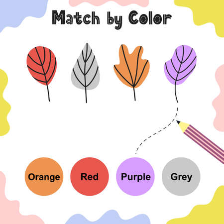 Matching game for kids. Choose the correct colors for leaves. Activity page. Learning colors educational worksheet for toddlers. Vector illustration