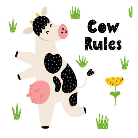 Cow rules print with a funny cow. Dancing happy cow card in cartoon style with hand drawn lettering. Vector illustration