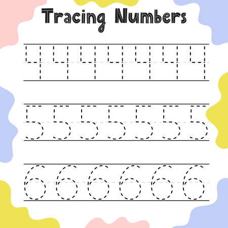 Tracing numbers activity page for kids. Preschool writing worksheet for toddlers. Education sheet template. Vector illustration