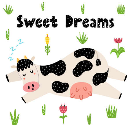Sweet dreams card with a cute sleeping cow. Print for kids with funny farm character. Vector illustration Ilustração