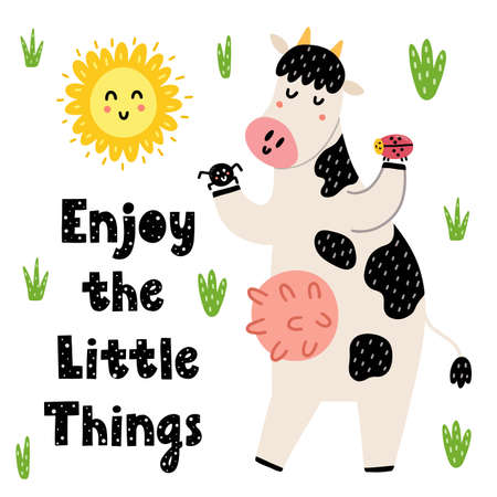 Enjoy the little things card with a cute cow. Funny print with hand drawn quote. Background for birthday greeting cards, posters, nursery art. Vector illustration Ilustração